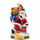 "Christopher Radko Twas the Night Before Christmas Collection - Down the Chimney Santa Glass Christmas Ornament - 6""h."