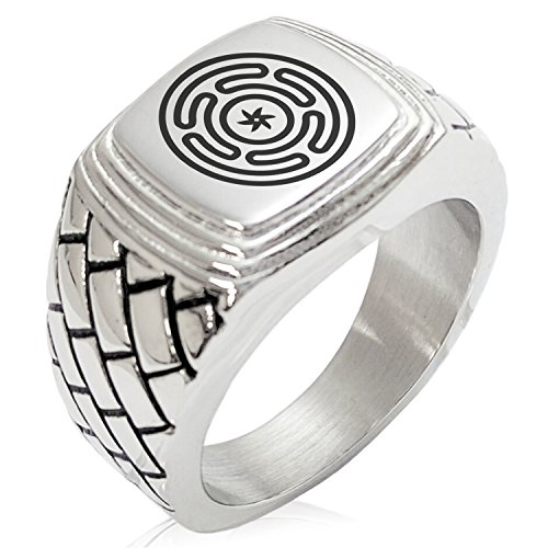 Two-Tone Stainless Steel Hecate Greek Goddess of Magic Engraved Geometric Pattern Step-Down Biker Style Polished Ring, Size 13