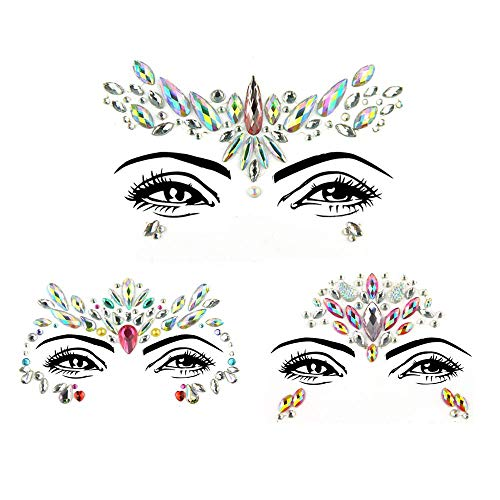 3pcs Mermaid Face Jewels Tattoos, Crystals Gems Glitter Temporary Stickers for DIY Make Up, Music Festival, Carnival
