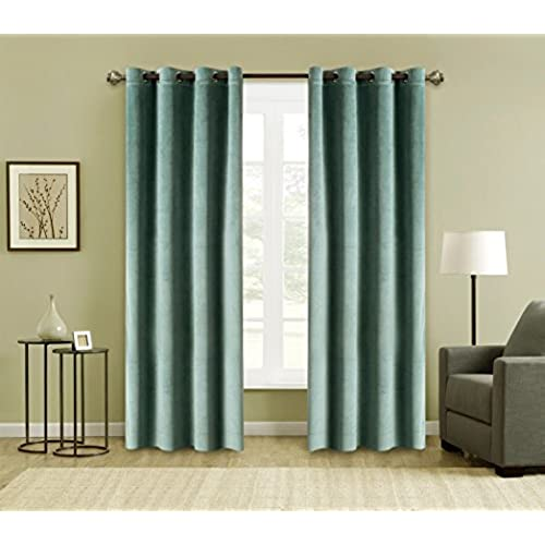 FirstHomer 2 Piece Solid Heavy Velvet Curtains /Drapery Panel Blackout  Super Soft Handfeel Luxury Nickle Grommet Aqua Mist 50W By 63L Inch  Collection ...