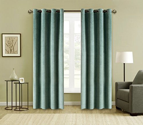 (FirstHomer Window Treatments Solid Matt Heavy Velvet Curtain Drapery Panel Blackout Super Soft Handfeel Luxury Nickle Grommet Aqua Mist 50Wx96L Inch (Set of 2 Panels)For Theater| Bedroom| Living)