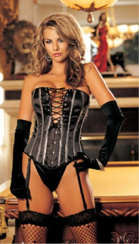 Shirley Of Hollywood Women's Heavy Satin Strapless Corset And G String