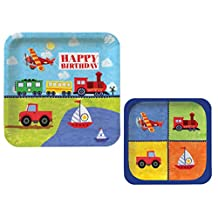 On The Go 16 Guest Transportation Child Birthday Party Bundle - 2 Items: Dinner Plates & Dessert Plates