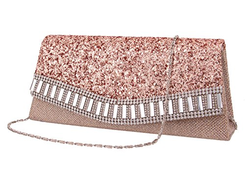 Bag Flap Evening Chain Bag Clutch Naimo Detachable Champagne2 Dazzling With xXpqZS6w