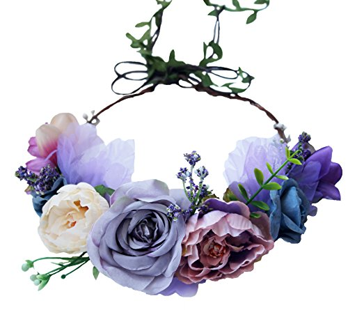 Vivivalue Boho Flower Crown Adjustable Flower Headband Hair Wreath Floral Headpiece Halo with Ribbon Wedding Party Festival Photos Lavander]()