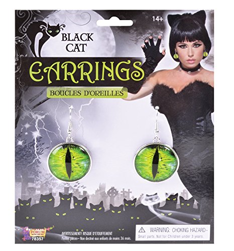 Forum Novelties Black Cat Earrings Evil Cats Eye Green Dangle Halloween Goth Costume Jewelry -
