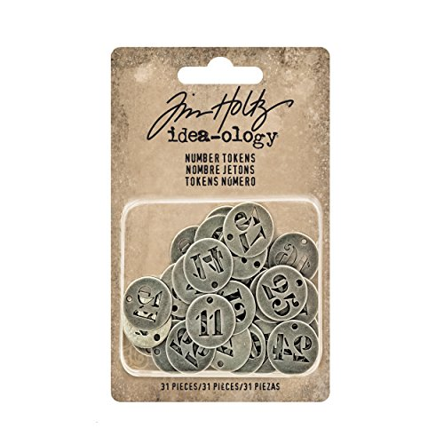Tim Holtz Idea-ology Metal Number Tokens 31/Pack, 3/4 Inch Each, Antique Nickel (Scrapbook Metal Charms)