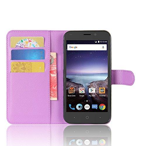 Lusee® PU Caso de cuero sintético Funda para ZTE Prestige 2 / N9136 5.0 Pulgada Cubierta con funda de silicona violeta violeta