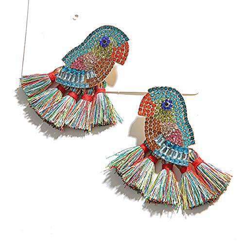 Animal Tassel Earrings for Women - Parrot-Themed Creative Tassel Earrings-Exquisite Handmade Earrings, Idea Gift for Sister/Wife/Friends (PARROT COLORFUL)