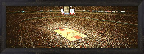 Great Art Now Chicago Bulls, Chicago, Illinois by Panoramic Images Framed Art Print Wall Picture, Espresso Brown Frame, 30 x 11 inches