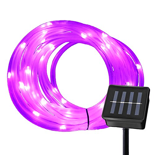Ruichen Solar Powered String Light,16.5FT 50 LED Strip Rope Tube Fairy Lights Waterproof for Outdoor Garden Wedding Party Christmas Xmas Decoration(Purple)