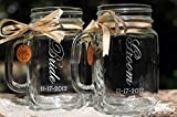Bride and Groom Mason Jars Dated with Handcrafted Wooden Charms