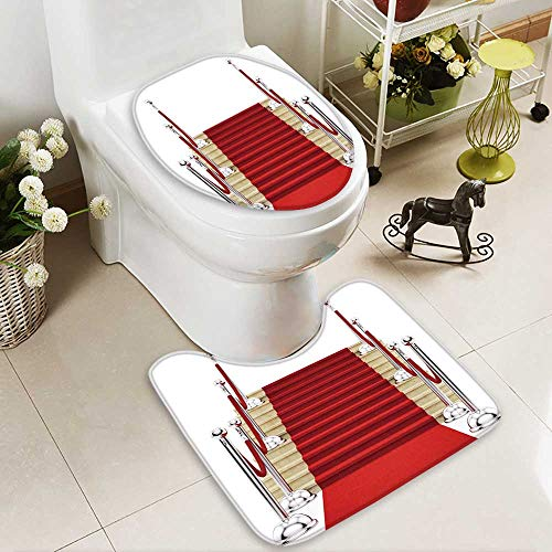 aolankaili Soft Toilet Rug 2 Pieces Set Render of Silver stanchions and a red Carpet Machine-Washable -