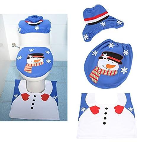 Dromedary Holiday Blue Snow Man Toilet Seat Cover and Rug Set 3pcs (Men Bathroom Rug Set)