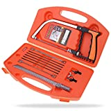 BLENDX Magic Saw Kit, 13 in 1 Universal Handsaw Set - Multi Purpose Bow Saw Platinum with 8 extra Magic Saw Blades for wood, glass, metal, rubber, tile