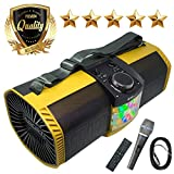 EMB Bluetooth Boombox Street Disco Stereo Speaker - 3600mAH Rechargeable Battery Portable Wireless 300 Watts Power FM Radio/MP3 Player w/Remote and Disco Lights w/EMB Microphone (Yellow)