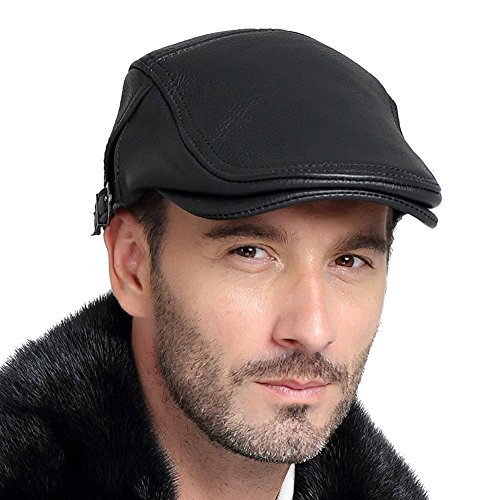 Vemolla 100% Real Leather Mens IVY Hat Golf Driving Ascot Flat Cabbie newsboy Black - Man's Hat A To Size How Measure
