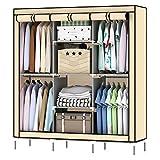 LISHBIE 69'' Portable Non-woven Fabric Clothing Closet Wardrobe Shelves Storage Organizer, 51 x 17.5 x 69 inches, Beige