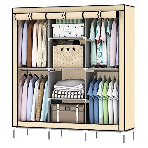 LISHBIE 69'' Portable Non-woven Fabric Clothing Closet Wardrobe Shelves Storage Organizer, 51 x 17.5 x 69 inches, Beige by LISHBIE