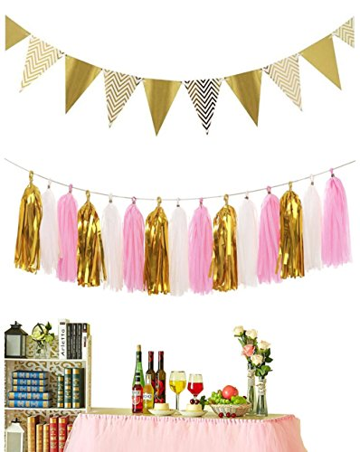 B-COOL Vintage Flags Triangle Banner Flags Paper Pennant Banner Bunting Tissue Paper Tassels Garland for Party/Wedding Birthday Party Wall Decor 15pcs Flags(Pink+White+Gold)