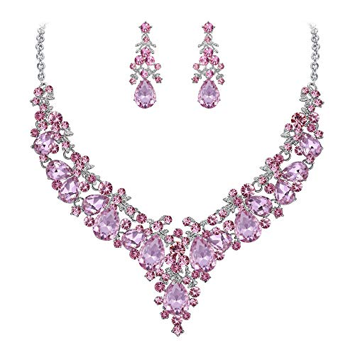 (EVER FAITH Women's Crystal Bridal Banquet Floral Cluster Teardrop Necklace Earrings Set Pink Silver-Tone)
