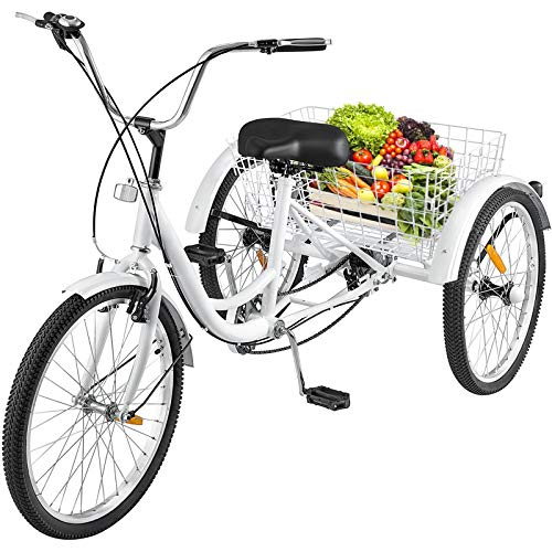 (Happybuy Three Tricycle Single Speed Size Cruise Bike 20in Trike with Bell Brake System Cruiser Bicycles Large Basket for Adult Recreation,Exercise (White 20 Single Speed))