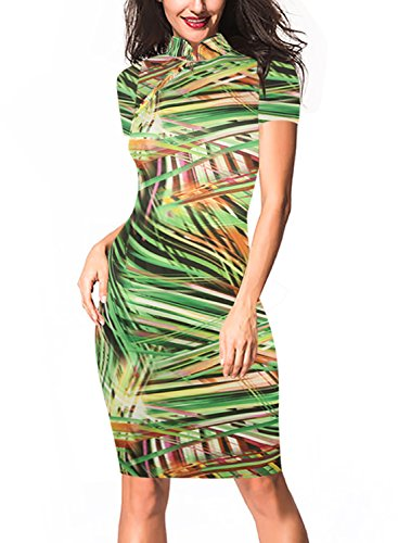 oxiuly Women's Retro Print Stretch Short Sleeve Stand Collar Sheath Dress OX183 (L, Green) ()