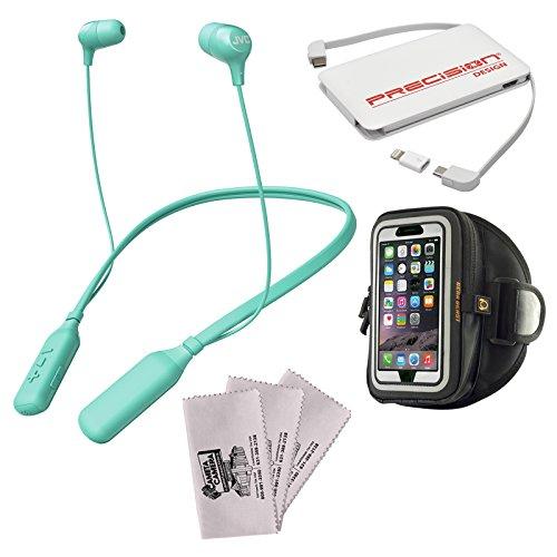 JVC HA-FX39BT Marshmallow Bluetooth Inner Ear Headphones (Green) + Power Bank + Smartphone Sport Armband + Kit -