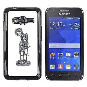 Caucho caso de Shell duro de la cubierta de accesorios de protección BY RAYDREAMMM - Samsung Galaxy Ace 4 G313 SM-G313F - Music Art Character Sketch