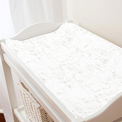 Carousel Designs Taupe Distressed Changing Pad Cover - Organic 100% Cotton Change Pad Cover - Made in The USA by Carousel Designs