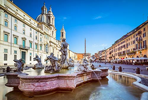 Leyiyi 5x3ft Photography Backdrop Piazza Navona Background Italian Landmark Vintage Rome Building Venice Water City Resort Moorish Fountain European Travel Honeymoon Photo Portrait Vinyl Studio Prop - Lombardia Five Light