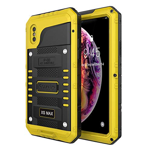 (iPhone Xs Max Case,Beasyjoy Heavy Duty Built-in Screen Full Body Protective Waterproof Shockproof Tough Rugged Hybrid Military Grade Defender Outdoor (Yellow))
