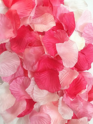 123zero 500 Pcs Mixed Color (Light Pink, White , Peach Pink, Rose Red and Pink) Artificial Silk Rose Flower Petals for Party and Wedding Bridal Decoration (Red Serise)