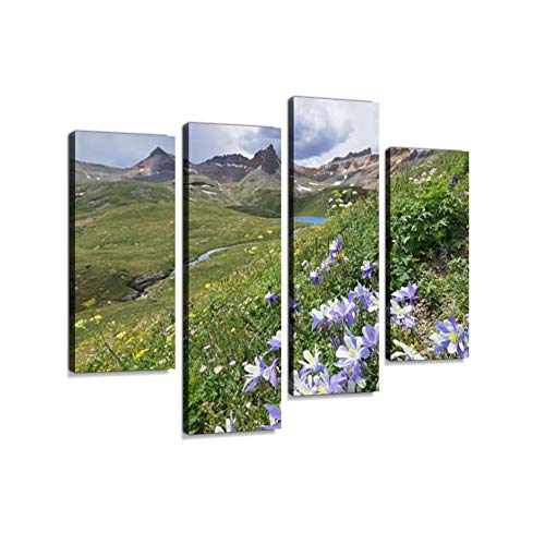(Colorado Columbine Flower on Ice Lake TrailCanvas Wall Art Hanging Paintings Modern Artwork Abstract Picture Prints Home Decoration Gift Unique Designed Framed 4 Panel)