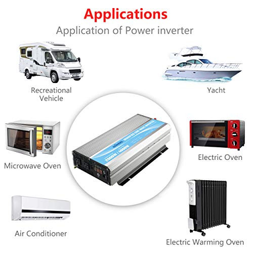 GIANDEL 2000W Power Inverter 12V DC to 110V 120V AC with Remote Control and LED Display Dual AC Outlets & USB Port for RV Truck Boat by Giandel (Image #1)