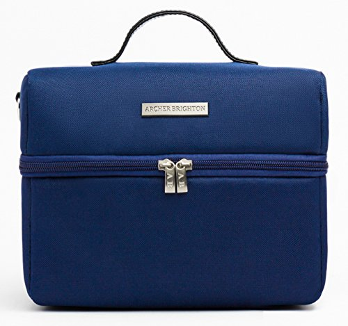 Archer Brighton Insulated Lunch Cooler Bag with Leather Shoulder Strap, Navy Blue