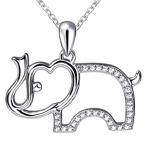 Apotie 925 Sterling Silver Luck Elephant Animal Pendant Necklace Gifts for Girls or Women - Elephant Animal Charm
