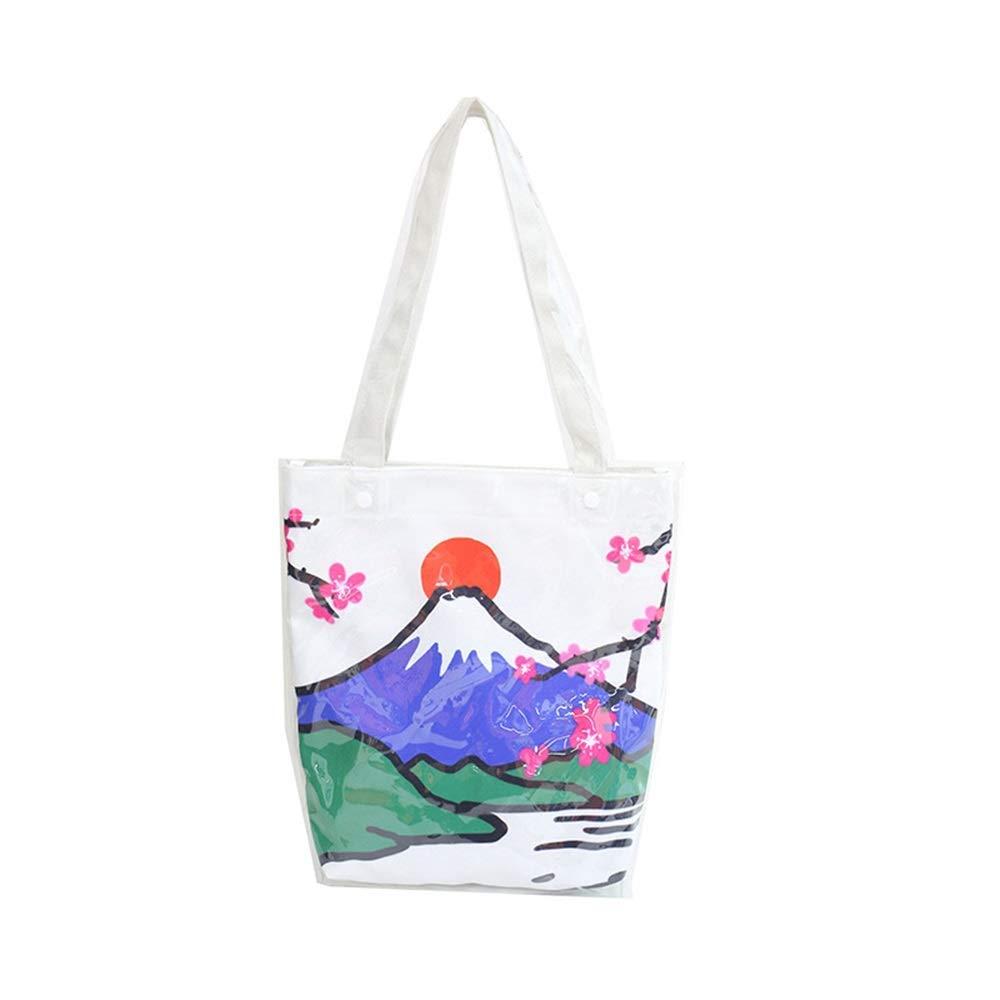 WHXYAA Dual Use Ladies Mount Fuji Canvas PVC Shoulder Tote Bag Large-Capacity Shopping Beach Bag (White) Simple Atmosphere