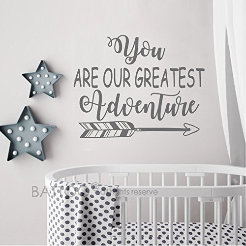 You are Our Greatest Adventure Vinyl Wall Decal Art Nursery Quote Removable Sticker Arrows Modern Nursery Decor(Dark Brown, 16