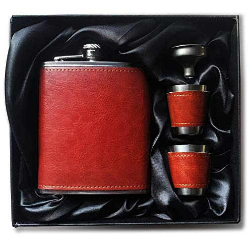 Brown Leather Wrapped 7 Oz Food Grade Stainless Steel Hip Flask Gift Set with Two Shot Glasses and Funnel