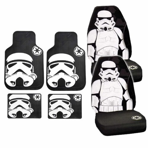 6pc Star Wars Stormtrooper Black White Front Seat Covers Rubber Floor Mats Set (Star Wars Seat Cover Set compare prices)