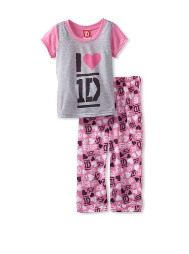 One Direction Girl's 1D 2-Piece Sleep Set - I Love 1D