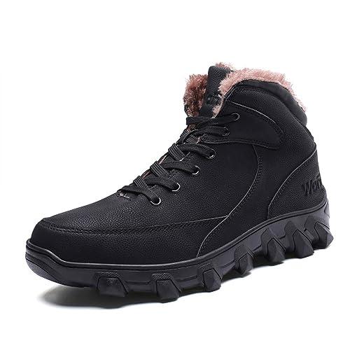 Security Tactical Uomo Fur Faux Neve Boots Caviglia Stivali Scarpe Trekking Invernali 47 Sportivi Marrone Caldo Impermeabili 38 Nero Odqww47