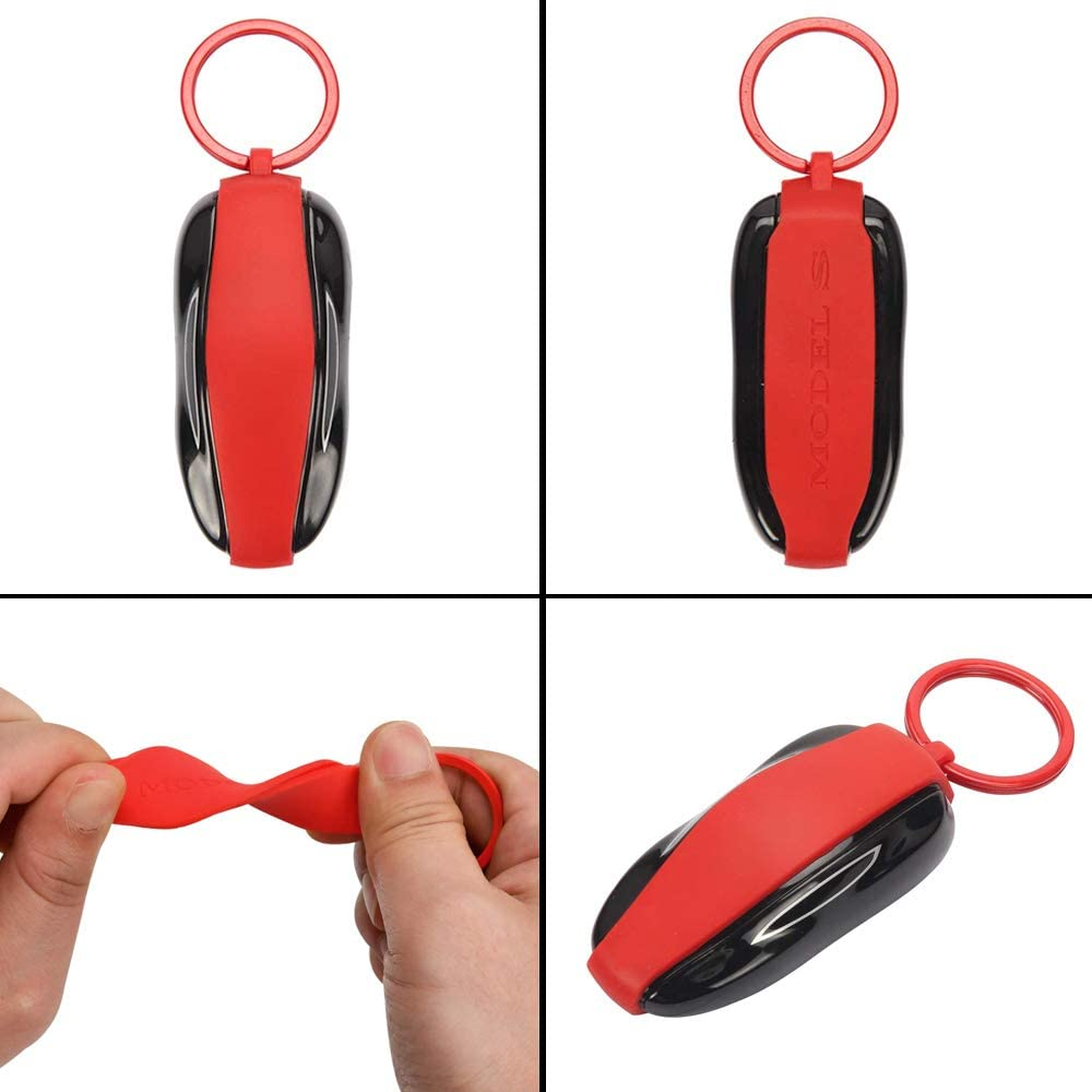 CoolKo Silicon Key Fob Keychain Holder Compatible with Tesla Model S Key Fob Cover 1 Piece Red