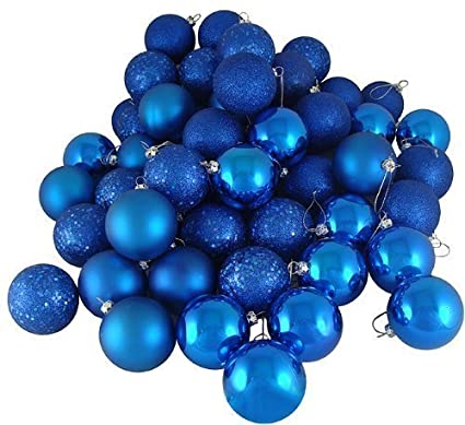 sea star blue christmas tree ball ornaments mini shatterproof satin shiny and glitter finish bulb christmas