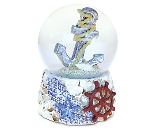 Puzzled Shells With Anchor (65mm) Nautical Snow Globes - Ocean Life / Boats Theme - Unique Elegant Gift and Souvenir - Item #9540