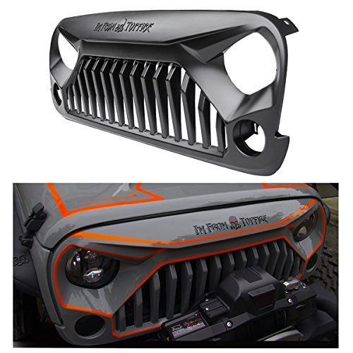 TOPFIRE 'Fury Grill' Replacement Grill for Jeep Wrangler 2007-2017, Including Rubicon, Sahara and Sport, 2-Door and 4-Door Black