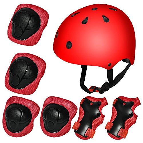 Kiwivalley Kids Boys and Girls Outdoor Sports Protective Gear Safety Pads Set [Helmet Knee Elbow Wrist] for Rollerblades, Scooter, Skateboard, Bicycle, Rollerblades(red)
