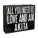 JennyGems - All You Need is Love and an Akita - Wooden Stand Up Box Sign - Akita Gift Series, Akita Moms, Akita Lovers, American Akita, Japanese Akita, Akita Inu, Akitas, Shelf Knick Knacks 4