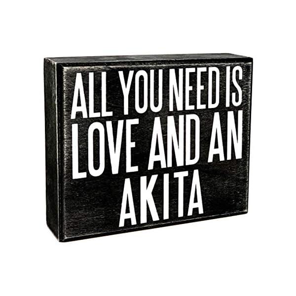 JennyGems - All You Need is Love and an Akita - Wooden Stand Up Box Sign - Akita Gift Series, Akita Moms, Akita Lovers, American Akita, Japanese Akita, Akita Inu, Akitas, Shelf Knick Knacks 1